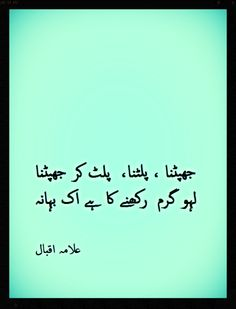 Jhapatna, Palatna, Palat Kar Jhapatna Lahoo Garam Rakhne Ka Hai Ek Bahana  To swoop, withdraw and swoop again Is only a pretext to keep up the heat of the blood.  #Allama #Iqbal #urdu #urdupoetry