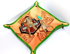 LEATHER TRAY green leather Celtic cross pyrography via Etsy