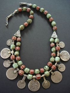 Nepalese Chevron Bead & Moroccan Silver Coin Necklace