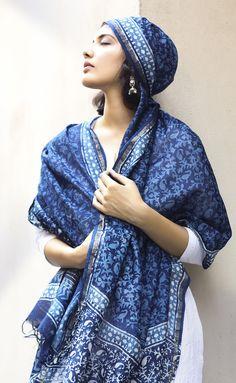 #indigo #contemporary #dupatta #cotton #blockprint #Fabindia #accessories