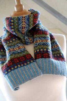 Hand Knit Fair Isle Scarf Grey Cashmere and Wool blends Fair Isle Knitting Patterns, Fair Isle Pattern, Knitting Charts, Knit Patterns, Baby Knitting, Manta Crochet, Knit Crochet, Fair Isles, Knitwear Fashion