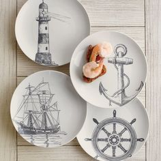 Marine Dessert Plates (Set of These are really cute and I like them. Of course you don't want to go overboard with the nautical theme unless you have a beach rental! Nautical Dishes, Nautical Home, Nautical Prints, Nautical Interior, Pottery Painting, Ceramic Painting, Joss And Main, Nautical Bathroom Design Ideas, Traditional Furniture