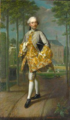 Mattheus Verheyden (1700-1776) — Gerard Cornelis van Riebeeck (1722-59). Secretaris van Delft, vermoedelijk staande voor zijn buitenhuis Essensteyn te Voorburg, 1755 :The Rijksmuseum, Amsterdam. Netherland (584x1000)