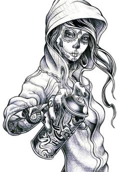 This is what i want for a tattoo. A sugarskull girl drawn like her but holding a snowboard. On the right side of my back