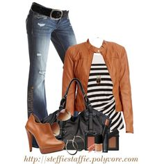 Camel & Stripes, created by steffiestaffie on Polyvore ...I probably would never wear this, but I love the look. :)