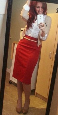 button up, cardigan,  red skirt w/ belt and nude shoes