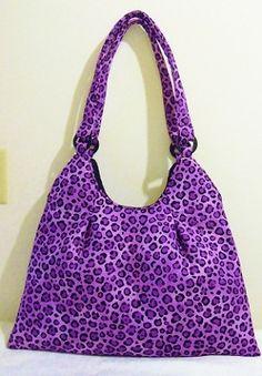 Purple Animal Print Hobo Bag