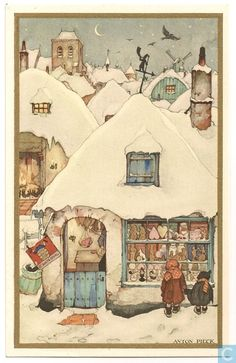 Anton Pieck - Find A Grave Memorial Christmas Scenes, Christmas Art, Anton Pieck, Photo D Art, Dutch Painters, Dutch Artists, Paintings I Love, Winter Art, Children's Book Illustration