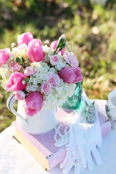 Floral centerpiece at a tea party! See more party planning ideas at CatchMyParty.com!