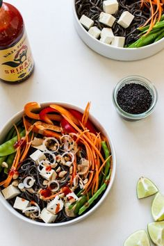 Easy Veggie Noodle Bowl with Peanut Sauce | edibleperspective.com #glutenfree #vegan