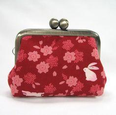 Small Coin Frame Pouch - Sakura Usagi Bunny Red