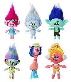 "Dreamworks Trolls Movie 9""- 12"" Plush Doll Set of 6 -Poppy,Guy Diamond,Branch,Harper,Cooper, DJ Suki By Ambassador."