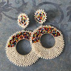 Best 12 Post White and Multicolored Hoop Earrings Beaded Stud Earrings Bar Stud Earrings, Silver Drop Earrings, Seed Bead Earrings, Beaded Earrings, Etsy Earrings, Earrings Handmade, Seed Beads, Handmade Jewelry, Pendant Earrings