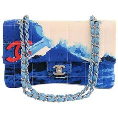 Chanel 2.55 Flap Blue x Red Canvas Surf Beach Shoulder Bag ($2,165) ❤ liked on Polyvore featuring bags, handbags, shoulder bags, chanel, red shoulder bag, shoulder bag purse, flap shoulder bag, red handbags and beach purse