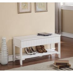 Winslow White Wide Hanging Entryway Shelf The Gray Barn Waggoner Solid Wood Shoe Bench with Storage Entryway Bench Storage, Bench With Storage, Entryway Ideas, Storage Benches, Hallway Bench, Entry Bench, Shoe Storage, Porch Bench, Hallway Ideas