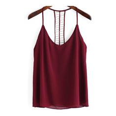 SheIn(sheinside) Burgundy Spaghetti Strap Bead Cami Top ($9.99) ❤ liked on Polyvore featuring tops, red, purple cami, chiffon top, camisoles & tank tops, red tank top and red tank