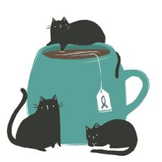 Kitties & Tea. A purrfect combo.