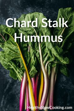 Use your chard stems for the power of good! Make this Chard Stalk Hummus from The CSA Cookbook, it's easy, vegan and delicious. New Recipes, Vegetarian Recipes, Cooking Recipes, Healthy Recipes, Healthy Food, Appetizer Recipes, Appetizers, Swiss Chard Recipes