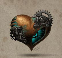 art heart digital art mechanical steampunk