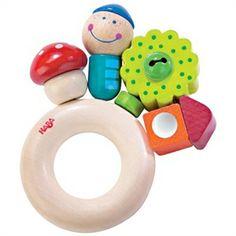 Wooden toy rattle. I giocattoli in legno si possono stringere, osservare, passare di mano, scuotere e... mordere. Come questo splendido sonaglio in legno con campanellino. Lo trovate su http://www.giochiecologici.it/p/278/sonaglio-gnomo