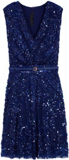 Elie Saab Short Sleeve Beaded Dress in Blue