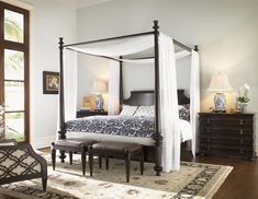 Tommy Bahama Home Royal Kahala King-Size Diamond Head Bed with Adjustable Posts & Canopy