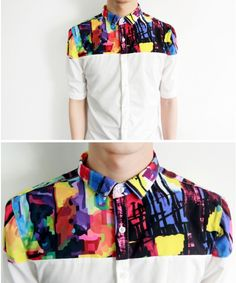 Wholesale White Oil Printing Lapel Design Fashion Slim Fitting Short Sleeve Men Hot Sale Casual Shirts M/L/XL 366-A205w - ClothingLoves.com ($15.00) - Svpply