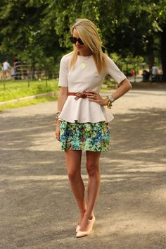 Floral skirt with peplum top, complimented with the skinny belt and perfect flats.