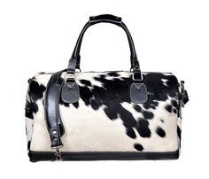 Authentic Black & White Cowhide Leather Overnight Duffle Bag - Looking for…