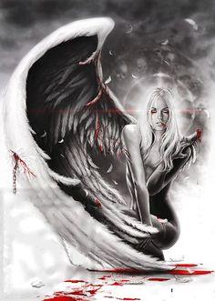 Artwork by Luis Royo Fantasy Kunst, Dark Fantasy Art, Fantasy Girl, Dark Art, Gothic Angel, Gothic Art, Tattoo Negro, Aztecas Art, Ange Demon