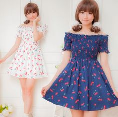 Japanese sweet dew shoulder cherry print dress
