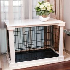 Now this makes a lot of sense: a dog crate discreetly housed within a stylish side table! The Merry Products End Table Pet Crate with Cage Cover has. Puppy Crate, Diy Dog Crate, Dog Cages, Pet Cage, Dog Crate End Table, Dog Kennel End Table, Canis, Dog Crate Furniture, Furniture Stores