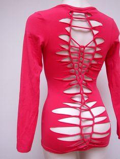 Pink longsleeve shirt - reconstructed woven open back - OOAK eco top - bohemian hippie punk fantasy - XS S - US 2 4 - YudelevitzEco. $39.00, via Etsy.