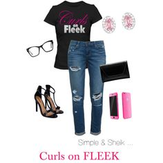Curlsonfleek by ray-lisa on Polyvore featuring polyvore, fashion, style, Paige Denim, Boohoo, Swarovski, Spitfire and CurlsOnFleek