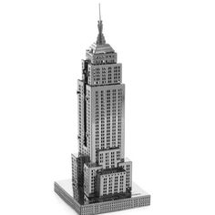 Aipin DIY 3D Puzzle Stainless Steel Model Kit Empire State Building Silver Color