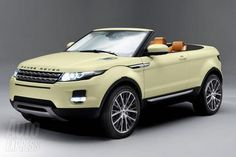 RANGE ROVER CABRIO gosh this is kind of cool for a Rover?  Looks fun. この色のオープン #evoque は見たことがない。