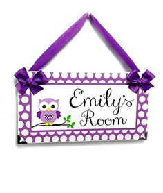 Purple and Lilac Owl Theme Girls Nursery Door Sign - Purple and White Polka Dots - Kids Door Sign, Personalised Name Plaque for Childrens Room