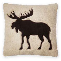 St. Nicholas Square® Moose Sherpa Fleece Throw Pillow, White