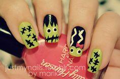 Just my nails Halloween - Frankenstein and his Bride #nail #nails #nailart