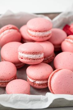 This Strawberry Macaron recipe is incredibly flavorful! The cookies are soft and chewy in the middle with a crispy exterior. The strawberry flavor comes from ground freeze-dried strawberries and it really packs a punch. Strawberry Macarons Recipe, Strawberry Filling, Macaron Recipe, Strawberry Recipes, Tea Cakes, Macaroons Flavors, Pink Macaroons, Biscotti, Donuts