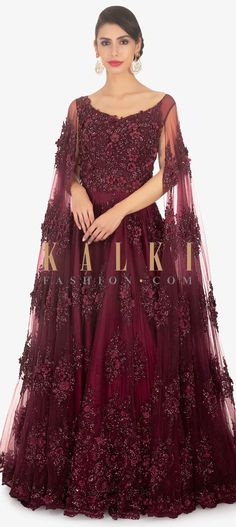 60baa983b65e We ship worldwide (Free Shipping over US$100) Click Anywhere to Tag Maroon- net-reception-gown-with-embellished-bodice-only-on-Kalki