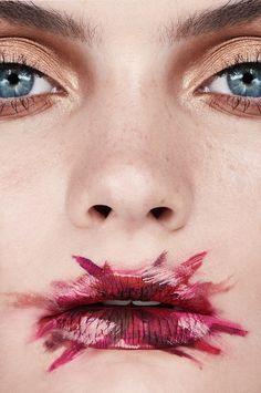 Model Caitlin Lawson- Smeared Lipstick Makeup Remover Brushstrokes Artistic Paint Brush Metallic Photographer: Jamie Nelson Makeup: Lottie Model: Caitlin Lawson @ Photogenics Art Director: Dani...