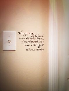 Dumbledore Happiness Quote Light Switch Wall Decal Harry Potter.