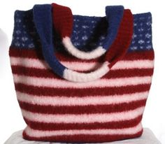 Free knitting pattern for Star Spangled Tote - Free knitting pattern from Jimmy Beans Wool for a flag-themed patriotic tote bag. 14 inches wide at the top and 12 inches long (after felting)