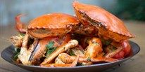 A great Asian inspired recipe for delicious chilli mud crab served with green onions, cherry tomatoes, herbs and served with steamed jasmine rice. Celebrity chef Pete Evans teaches you how to make this traditional chilli crab recipe. Mud Crab Recipe, Chilli Crab Recipe, Seafood Platter, Seafood Dishes, Baked Salmon And Asparagus, Lobster Restaurant, Pete Evans, Beer Battered Fish, Crab Recipes