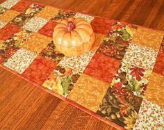 Quilted Fall Table Runner with Autumn Flowers and Leaves in Rust Gold and Brown, Fall Home Decor, Autumn Table Decorations, Fall Tablecloth