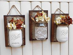 Mason Jar Wall Decor Burlap Decor Farmhouse Decor by TeddysRoom – DIY Crafts Mason Jar Art, Mason Jar Crafts, Mason Jar Projects, Diy Projects, Wood Crafts, Diy And Crafts, Burlap Crafts, Diy Home Decor, Farmhouse Decor