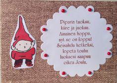 Christmas card. Size: 4x7cm. Text stamp: Stempelkeller. / Joulukortti Christmas Cards, Stamp, Handmade, Christmas E Cards, Hand Made, Stamps, Craft, Christmas Card Sayings, Handarbeit
