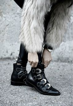 Chic Black Leather Studded Motorcycle Boots