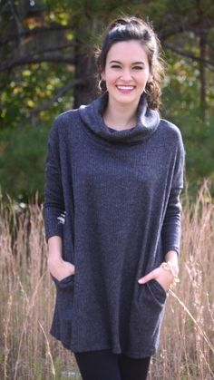 Ribbed Cowlneck Sweater, Charcoal :: NEW ARRIVALS :: The Blue Door Boutique